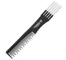Гребень для расчесывания и укладки волос с металлической вилкой, 19 см.